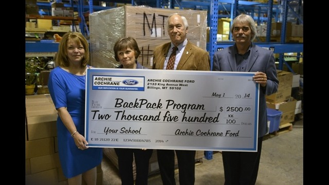 Archie Cochrane Ford Donates to the Backpack Program