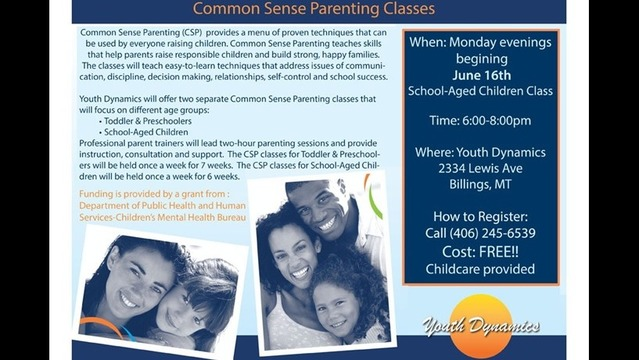 Youth Dynamics is offering Common Sense Parenting Classes